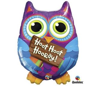 Hoot Hoot Hooray Owl 34 Mylar Foil Balloon Holding Sign