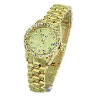 Classic Gold Tone Women Brass Analog Dress Watch Date Made w