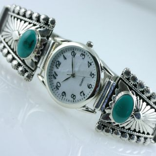 Native American Jewelry Turquoise Silver Watch