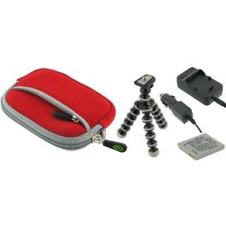 4n1 Neoprene Sleeve Case (Red) and / NP 40 AC DC Charger
