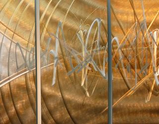 Gold Silver Abstract Metal Wall Art Sculpture Event Horizon