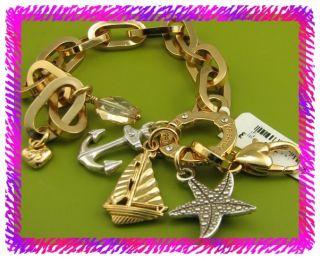 Brighton Silver Gold Windstar Nautical Charm Bracelet NWTag