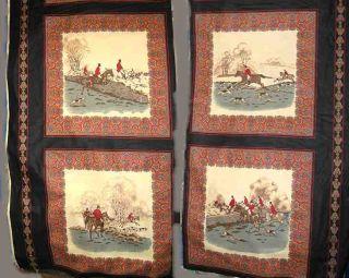 Concord Fabrics Herring Fox Hunting Horse Black Design Cotton Fabric