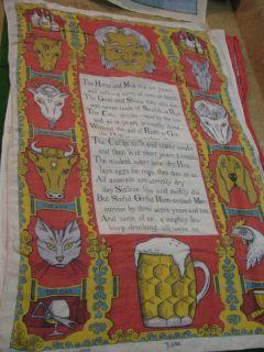 Vintage Irish Linen Tea Towel Ulster Horse Rum Poem