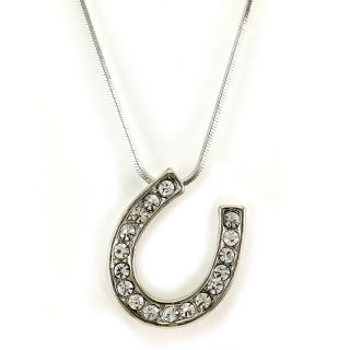 Horseshoe Pendant Necklace White Clear Rhinestone Crystals Horse Shoe