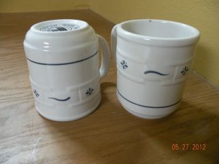 Longaberger Pottery Woven Traditions (2) Heritage BLUE MUGS Retired 4