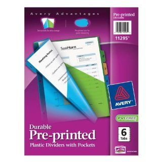 Avery Durable Pre Printed Plastic Dividers with Pockets, 6