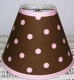 Chocolate Brown and Pink Large Polka Dot Lamp Shade