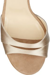 Jimmy Choo Tema crystal embellished satin and suede sandals   64% Off