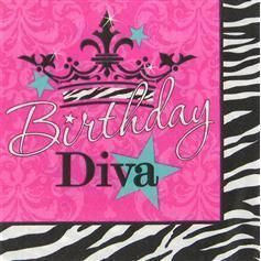 Diva Birthday Zebra Print Pink Crown Large Napkins Party Supply