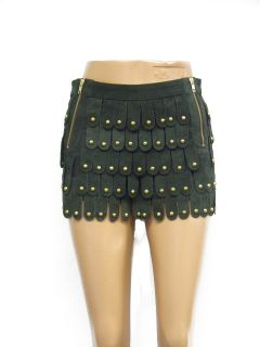 Dark Green Armour Suede Shorts Hotpants