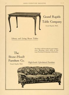 1920 Ad Stone Hoult Furniture Grand Rapids Table Sofa   ORIGINAL