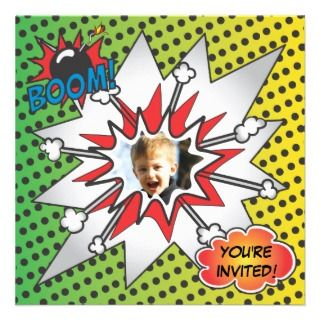 Comic Book Superhero Photo Insert Birthday Party Custom Invitation