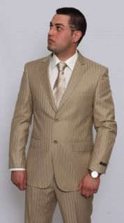 Modern Fit Men Suit 2 Button Beige Stripe Flat Front Pants Italian
