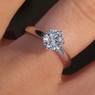 76 Ct F SI Round Diamond Solitaire Ring 14k Yellow Gold