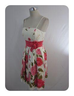 New J Howard Ivory Multi Floral Empire Stretch Cotton Spaghetti Dress