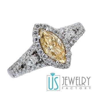 Canary Yellow Marquise Diamond Engagement Ring w Round Marquise Side