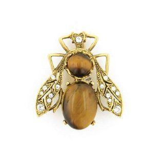 1928 JEWELRY 33604 Royal Bee Tigers Eye Crystals and Gold