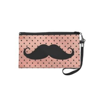 Funny Mustache On Cute Pink Polka Dot Background iPod Case Mate Case