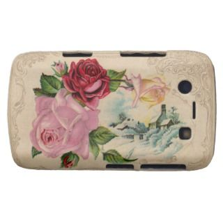 Vintage Winter Roses Blackberry Phone Case Blackberry Case