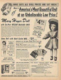 1954 Vintage Toy Ad Mary Hoyer Doll Childrens Dolly Wardrobe Trunk Wig