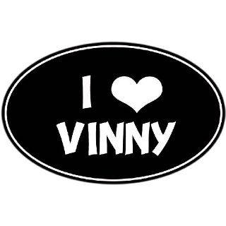 CUSTOM OVAL I LOVE VINNY VINYL DECAL/STICKER 6 BLACK