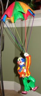 Beautiful Mexican Paper Mache Clown Hanging from Parachute