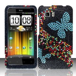 BLUE BUTTERFLY Hard Plastic Bling Rhinestone Case for HTC