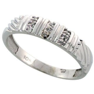 10k White Gold Mens Diamond Wedding Band Ring 0.05 cttw Brilliant Cut