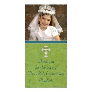 Religious Green White Cross Customized Photo Card