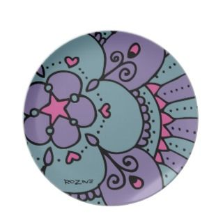 Peacock Princess Diva Rock Star Heart Polka Dots Plate