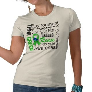 Think Green Environment Collage T shirts