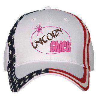 UNICORN Chick USA Flag Hat / Baseball Cap Clothing