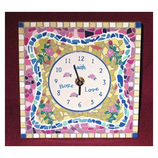 Faith Hope Love Mosaic Multicolor Cordless Clock
