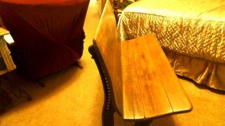 Antique Cast Iron Wood Double Seat School Bench