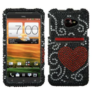 For HTC EVO 4G LTE Crystal Diamond Bling Hard Case Snap Phone Cover
