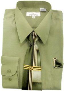 EMVO, Olive Green Shirt, Tie & Hankie Size XXL Sleeve 34