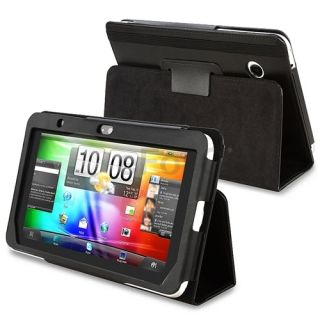 Black Leather Skin Cover Case Pouch Stand for HTC Flyer Tablet