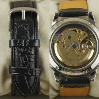 Golden Skeleton Dial Design Mens Leather Wrist Watch Automatic