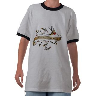 Swallow and Scroll with Cross Country Skiing Tee Shirt