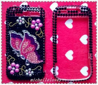 BUTTERFLY RHINESTONE BLING FULL COVER CASE FOR HTC MyTouch 4G HM10