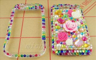 3D FLOWER RHINESTONE BLING FULL COVER CASE FOR HTC MyTouch 4G HM16