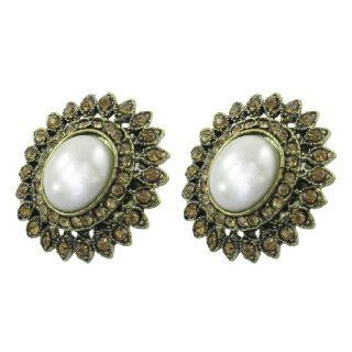 Rosallini Pair White Plastic Faux Pearl Decor Brass Tone Earrings