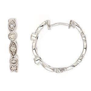 45ct Diamond Huggie Hoop Earrings 14k White Gold