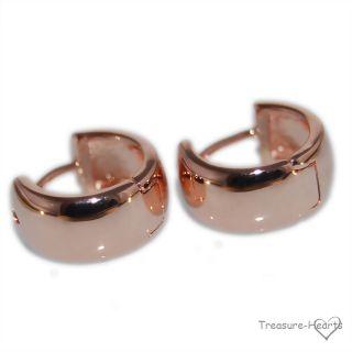 Rose Gold Filled huggies wedding band style hoop earrings for girls