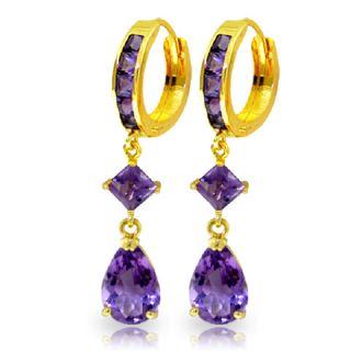 GAT 14k Gold Huggie Earrings with Natural Dangling Amethysts