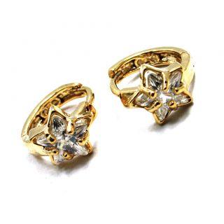 Gold 18K GF Earrings Small Hoop Huggie Flower Crystal CZ Girl Lady