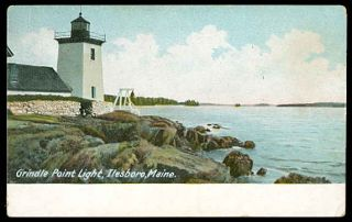 Lighthouse Postcard Grindle Point Light Ilesboro Me