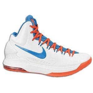 Nike KD V   Mens   Basketball   Shoes   White/Photo Blue/Team Orange