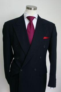 Hugo Boss Zeus Akropolis Dark Blue Pinstripe D Breasted Suit Sz 42L